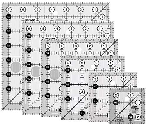 Creative Grids - 6 Square Quilt Rulers - 2.5'', 3.5'', 4.5'', 5.5'', 6.5'', 7.5'' by Generic