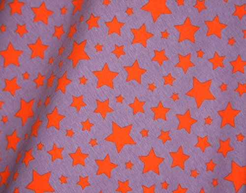 (Knit Stars violet with orange Design Fabric by the Yard, 95% Cotton, 5% Lycra, 60 Inches Wide, excellent quality, medium weight, 4 way stretch (4)