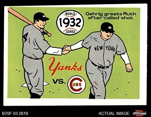 (1970 Fleer World Series # 29 1932 Yankees vs. Cubs Babe Ruth/Lou Gehrig Yankees/Cubs (Baseball Card) Dean's Cards 3 - VG Yankees/Cubs)