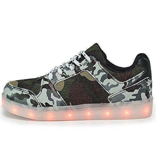 d5afaba1 ... DoGeek Zapatos Led Niños Niñas Negras Blanco 7 Color USB Carga LED  Zapatillas Luces Luminosos Zapatillas ...