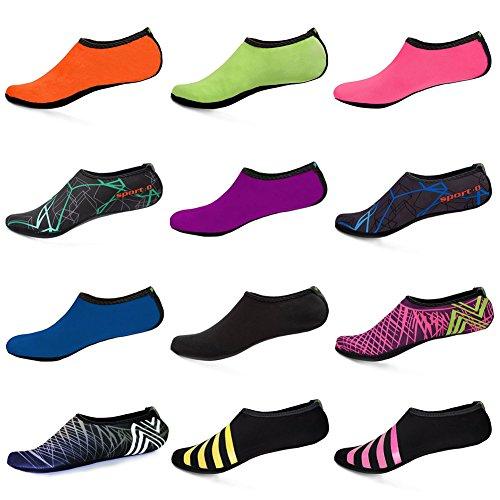 WONZOM FASHION Frauen Barfuß Wasserhaut Schuhe Quick-Dry Aqua Socken für Beach Pool Schwimmen Dive Surf Yoga Rosa Netz