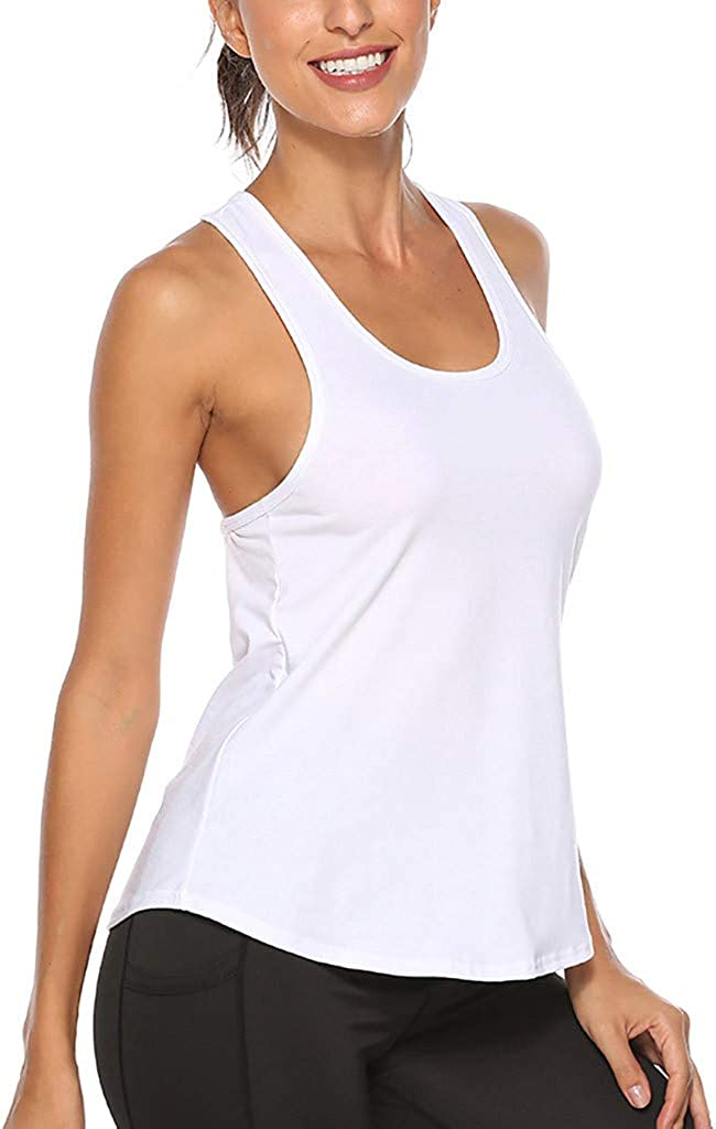 Eoeth Women Exercise Fitness Tank Tops Workout Sports Running Slim Yoga Gym Clothes Vest Blouse Solid Sportswear Camisole