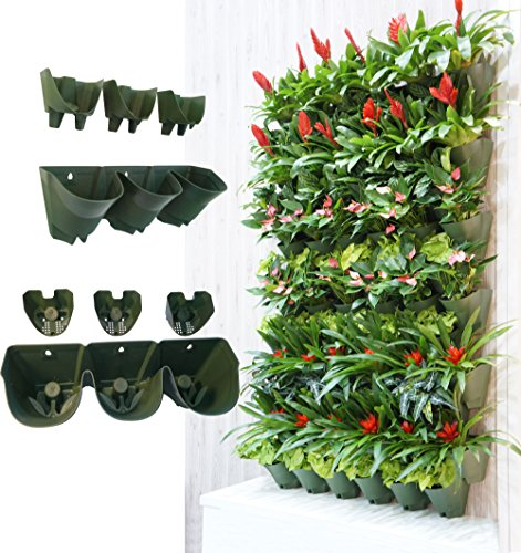 Worth Garden Olive Green Self-Watering 1 Set - 3 Pockets Vertical Wall Garden Planters