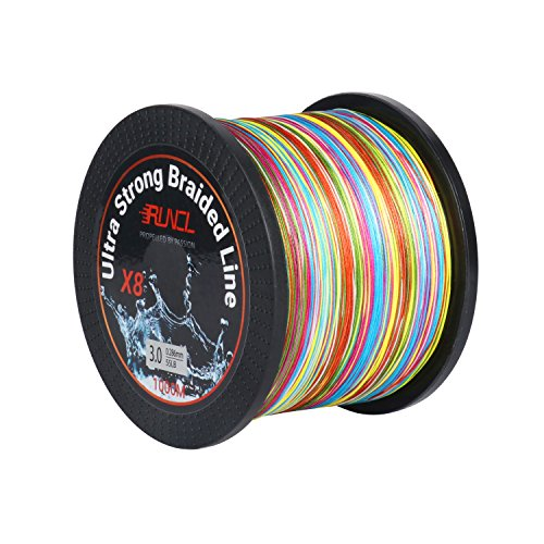 30lb Fishing Rods - RUNCL Braided Fishing Line with 8 Strands, Fishing Line PE Material 1093Yds/1000M with Multiple Colors for Freshwater and Saltwater (1093Yds/1000M, 30LB(13.6kgs))