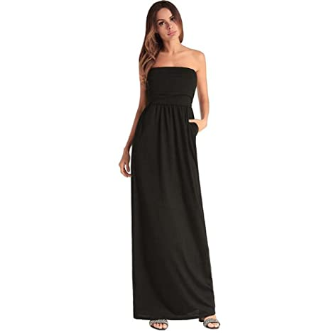 2545ae07ad Women Strapless High Rise Tube Top Maxi Dress Party Dre Casual Solid Swing  Dress A Line