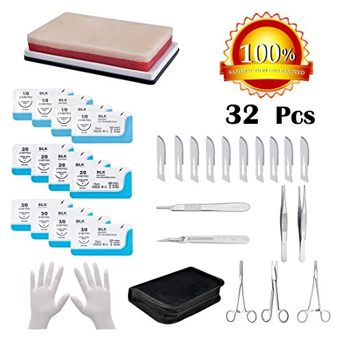 32 Pcs Suture Practice Kit, Suture Pad/12 Suture with Needle/Needle Holders/Hemostatic Forceps/Scissors/Dressing Forceps/Tissue Forceps/Scalpel Handle/10 Blades/Plastic Handle Scalpel/Gloves/Case