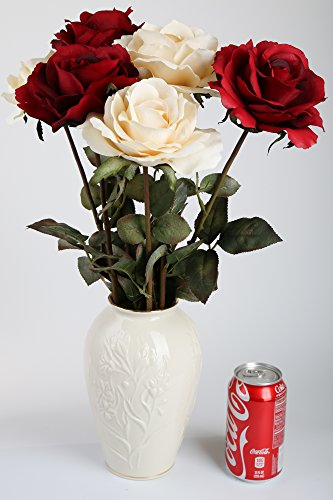 SilkenBloom Artificial Cream and Red Silk Queen Roses in LENOX® Cream Vase (End Arrangements High Faux Floral)