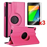 Yarmonth- Google New Nexus 7 FHD 2nd Gen 360 Degree Rotating Stand Cover Case + 3 pcs Clear Screen Protectors Bundle for Google Nexus 7 2nd Gen 2013 Android 4.3 Tablet By Asus (Landscape/portrait View, Smart Cover Auto Wake / Sleep Feature)-hotpink