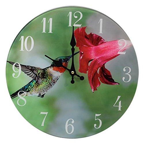 (Sea Creations Ruby-Throated Hummingbird Glass Wall Clock 13