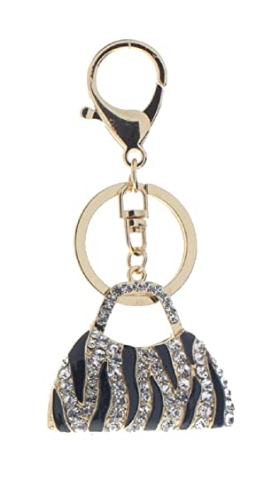 Rhinestone Bling Key Chain Zebra Stripe Handbag Gold Tone Flowers ... 544054497c