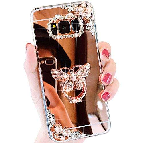 Case for Samsung Galaxy S7 Edge LAPOPNUT Luxury Crystal Rhinestone Case 3D Bling Glitter Diamond Butterfly Ring Stand Holder Rose Gold Thin Protective Sparkle Case Back Mirror Cover