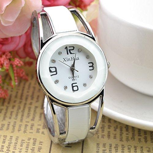 Armband Design Quarz Uhr mit Strass Dial-Edelstahl-Band für Frauen Tiefblau (Weiß1)