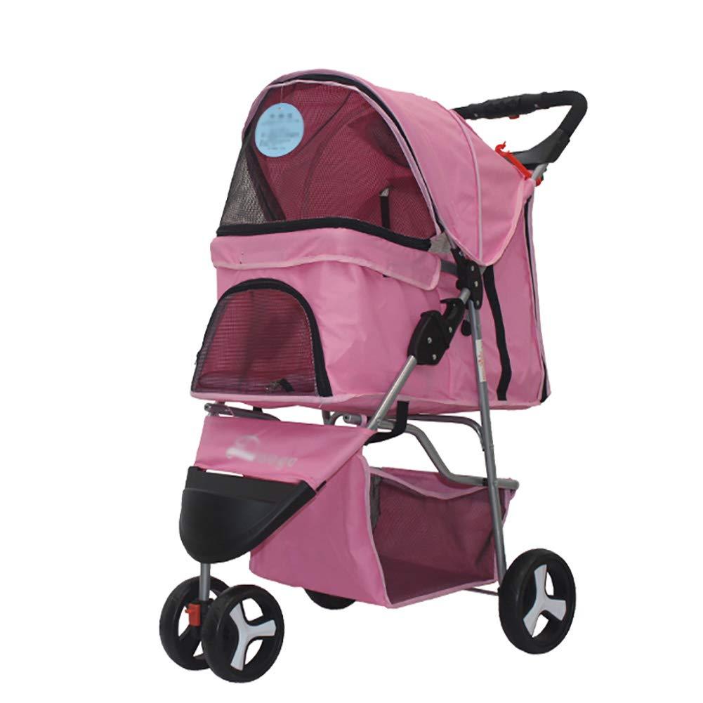 CHS@ ペットのベビーカーの犬のテディーカート折りたたみ式の3輪ペット車軽量ペットのトロリー トロリー (色 : Brown) B07PM4MMNX Pink  Pink