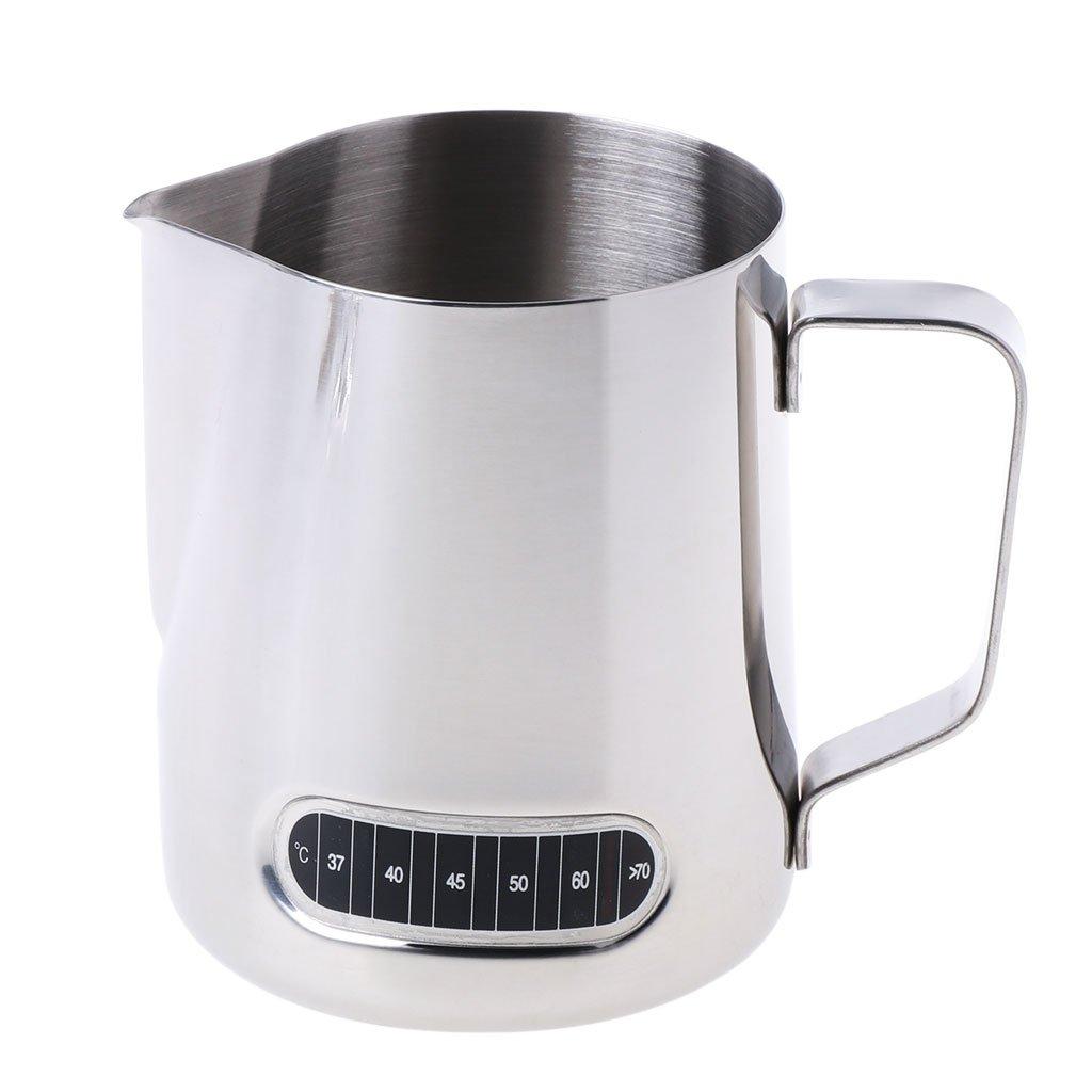JunlintoJarra de Espuma de Leche de Acero Inoxidable Jarra de café de Barista con termómetro 600 ML
