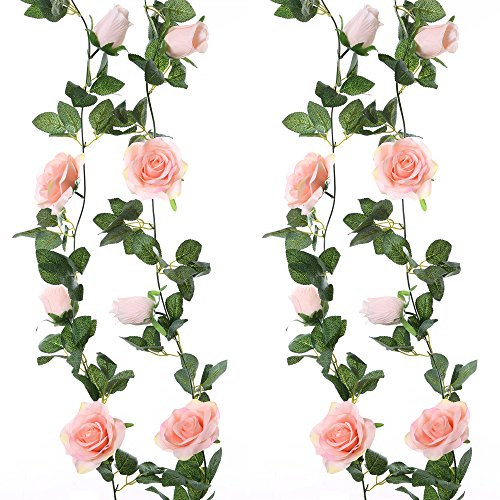Felice Arts 2pcs 13 FT Fake Rose Vine Flowers Plants Artificial Flower Hanging Rose Ivy Home Hotel Office Wedding Party Garden Craft Art ()