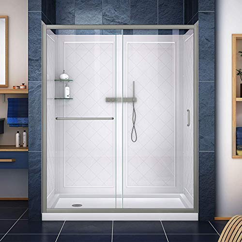 DreamLine Infinity-Z 30 in. D x 60 in. W Kit, with Sliding Shower Door in Brushed Nickel, Left Drain White Acrylic Base and Backwalls
