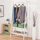 Wood coat rack with double door rack bedroom shelf shoe rack hanger clothes minimalist style coat rack,Ivory white