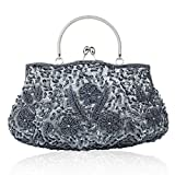 Onorner Beaded Sequin Design Metal Frame Kissing Lock Satin Interior Evening Clutch (Gray)