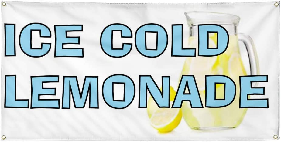 Vinyl Banner Multiple Sizes Ice Cold Lemonade Advertising Printing C Business Outdoor Weatherproof Industrial Yard Signs White 10 Grommets 60x144Inches