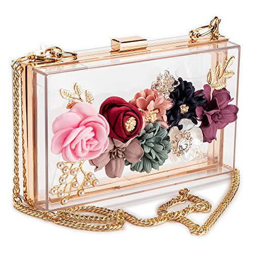 Women Acrylic Flower Clutches Crossbody Floral Purse with Gold Chain Pearls Beaded Evening Bags For Wedding Prom Banquet Ideal-gift