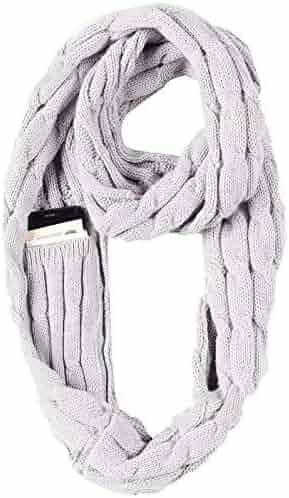 44602e547c JOKHOO Winter Soft Knit travel scarf Infinity Scarf,with Secret Hidden  Zipper Pocket