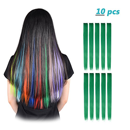 FESHFEN 10 Pcs Grass Green Straight Clip on in Hair Extensions Hairpieces 20 Inches Long Remy Hair Colored Party Highlights Hair Accessories DIY Hair Decoration Cosplay with Gift Hairpin