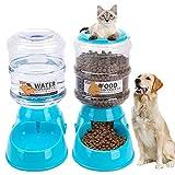QBABY 2 Piezas de Alimentador Automático de Mascotas Auto Bebedero Dispensador de Alimentos y Agua para Perros Gatos