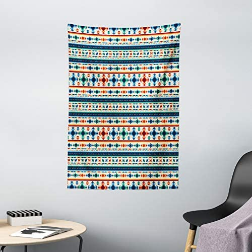 Ambesonne Abstract Tapestry, Tribal Abstract Seamless Aztec Geometrical Prehistoric Pattern, Wall Hanging for Bedroom Living Room Dorm Decor, 40 X 60 , Blue White and Orange