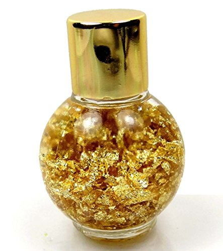 24k Genuine Gold Flakes Floating Brazilian Glass Bottle Display 45x30mm (Gold Flakes Bottle)