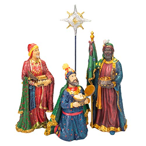 Three Kings Following Star with Gifts 4 Piece Set 10 inch Resin Stone Nativity Figurines