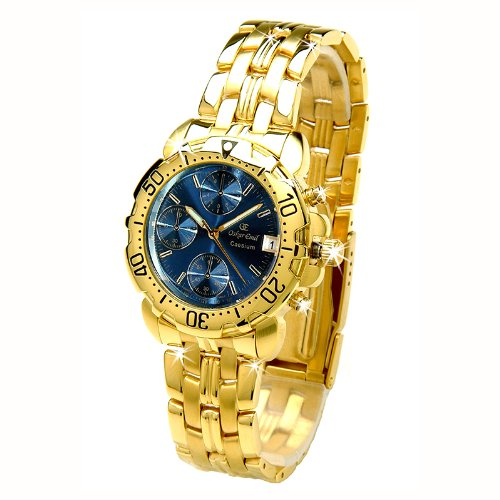 Oskar Emil Caesium 1119G Mens 23ct Gold Plated Chronograph Watch with Steel Blue Dial