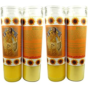 OSHUN OCHUN Vela Amarilla Santeria Collection Con Imagen a Todo Color Sets De 2 O 4 Velas (4)