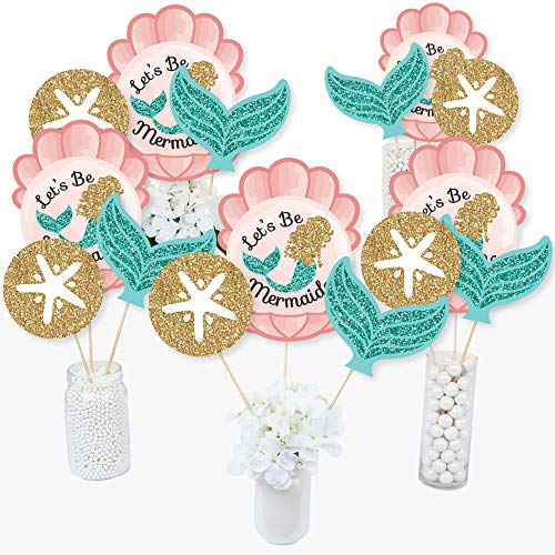 Party Birthday Centerpiece Table (Let's Be Mermaids - Baby Shower or Birthday Party Centerpiece Sticks - Table Toppers - Set of 15)