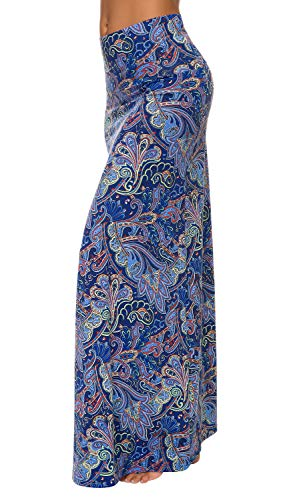 Urban CoCo Women's Stylish Spandex Comfy Fold-Over Flare Long Maxi Skirt (S, 7)