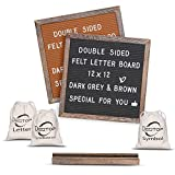 Destop Double Sided Felt Letter Board with Stand, 662 Precut White Letter,Months,Wall& Tabletop Display(12''x12'')