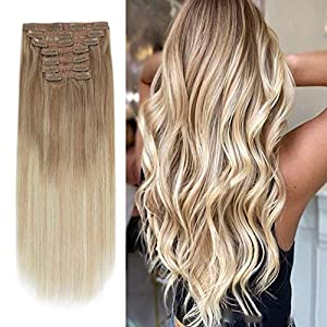 Sixstarhair Remy Hair extensions clip in Human Hair Balayage Hair Clip Extensions Balayage Ash Brown Fading to Dirty…