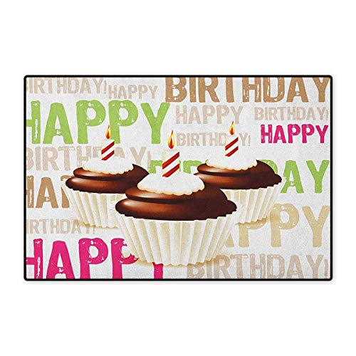 Birthday,Door Mats for Floors,Grunge Retro Happy Birthday Pattern with Three Chocolate Cupcakes Candles Print,Mat for Tub Doorroom,Multicolor,Size,24