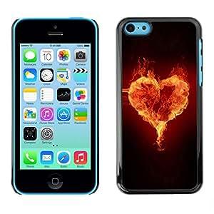 All Phone Most Case / Hard PC Metal piece Shell Slim Cover Protective Case Carcasa Funda Caso de protección para Apple Iphone 5C Fire heart
