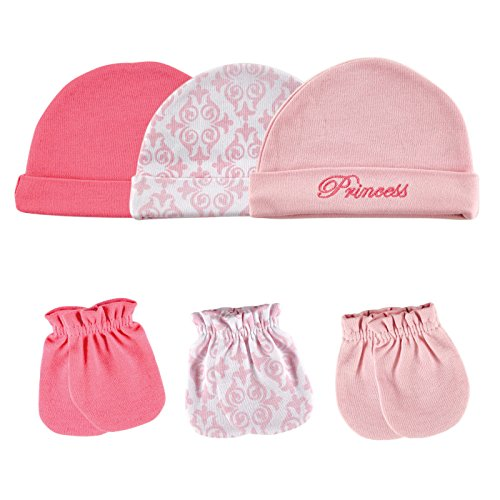 Luvable Friends 6-Piece Cap and Scratch Mittens Set, Princess