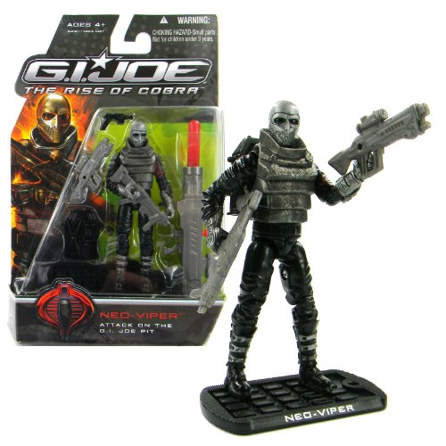 Hasbro Year 2008 G.I. JOE Movie The Rise of Cobra Series 4 Inch Tall Action Figure - Attack on the GI Joe Pit NEO VIPER with 2 Rifles, Gun, Missile Launcher with 1 Missile, Backpack and Display Base