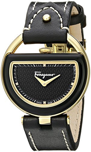 Salvatore Ferragamo Women's FG5010014 Buckle Gold-Coated Stainless Steel Watch with Black Leather Band by Salvatore Ferragamo (Image #1)