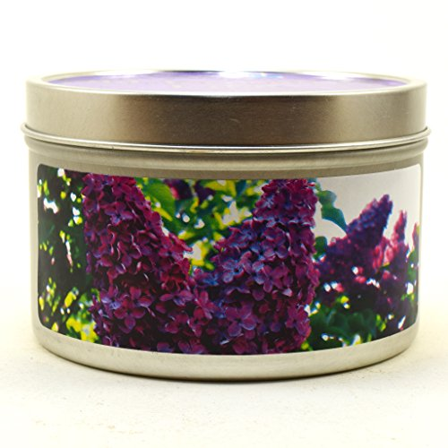 Old-Fashioned Lilac, Super Scented Soy Candle Tin (6 oz) by Candeo Candle (Image #1)