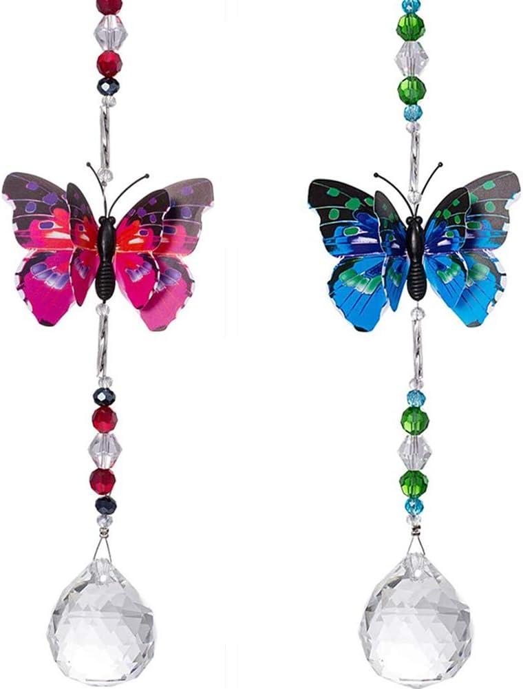 BESTZY Bola de Cristal Feng Shui 2 Piezas Lámpara de Araña de Cristal Colgante prismas Techo Mariposa Bola Colgante Ventana Colgante suncatcher Ornamento
