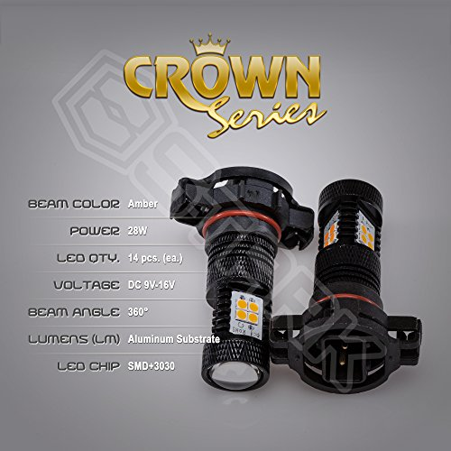 2x 28W Kit 3000 lm Bulbs – Crown Series 3030 Max Intensity – 14 pcs SMD Chip Projector Fog Lights – 5202 – Amber Yellow