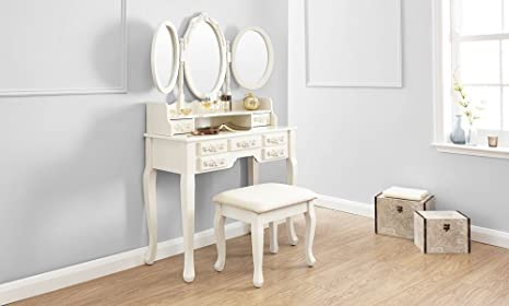 Value furniture arabella shabby chic avorio tavolo da toeletta con