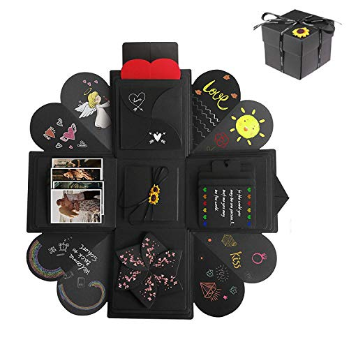 Creative Explosion Gift Box, DIY Handmade Photo Album Scrapbooking Gift Box for Birthday Party and Surprise Box About Love Opend with 14''x14''(Black)