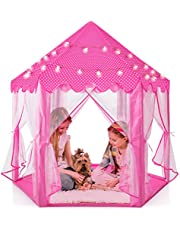 """Play22 Kids Large Playhouse Tent – Kids Play Tent Princess Castle Pink - Play Tent House For Girls With Star Lights & Carry Bag - Princess Castle Playhouse Tent For Girls Boys Indoor Outdoor 55"""" X 53"""""""
