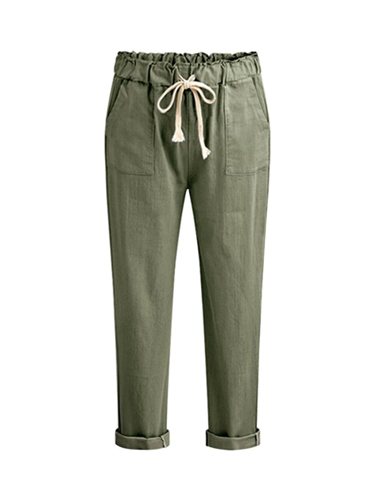 Women's Large Size Cotton Casual Harem Pants Drawstring Elastic Waist Cropped Capris Pants Green Tag 5XL-US 16