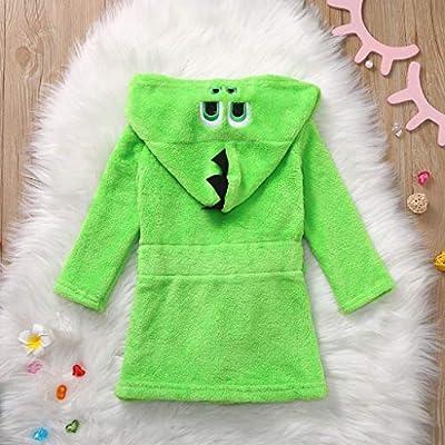 EDTO Kids Baby Boy Girl Cartoon Hooded Fleece Bathrobes Towel Night-Gown Sleepwear (0-6 Months, Green): Toys & Games