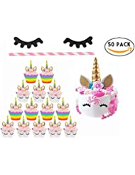 Hummingbirds Unicorn Cupcake Wrappers by Liners Cake Golden Topper Horn Ears with Flowers and Eyelashes Party Decoration Supplies Perfect for Birthday Baby Shower set 50